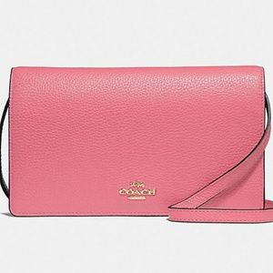 NWT Pink Coach Foldover Crossbody Bag